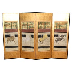 Hand Painted Japanese Folding Screen 'Byobu' Ponies Painting, Watercolor