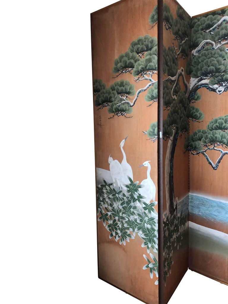 Hand-Painted Japanese Inspired Screen by Artist Robert Crowder For Sale 4