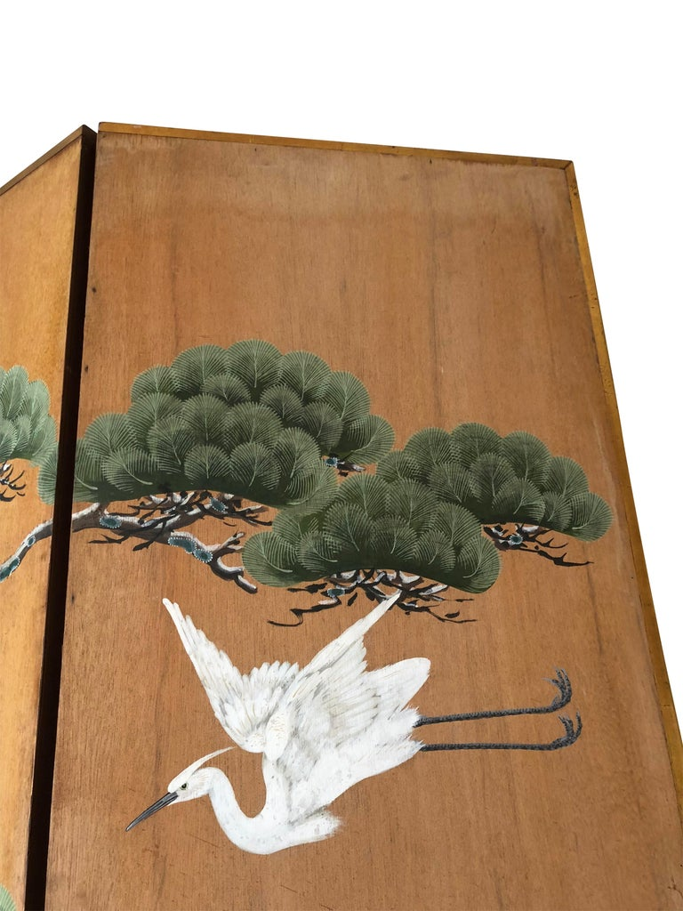 Hand-Painted Japanese Inspired Screen by Artist Robert Crowder For Sale 5
