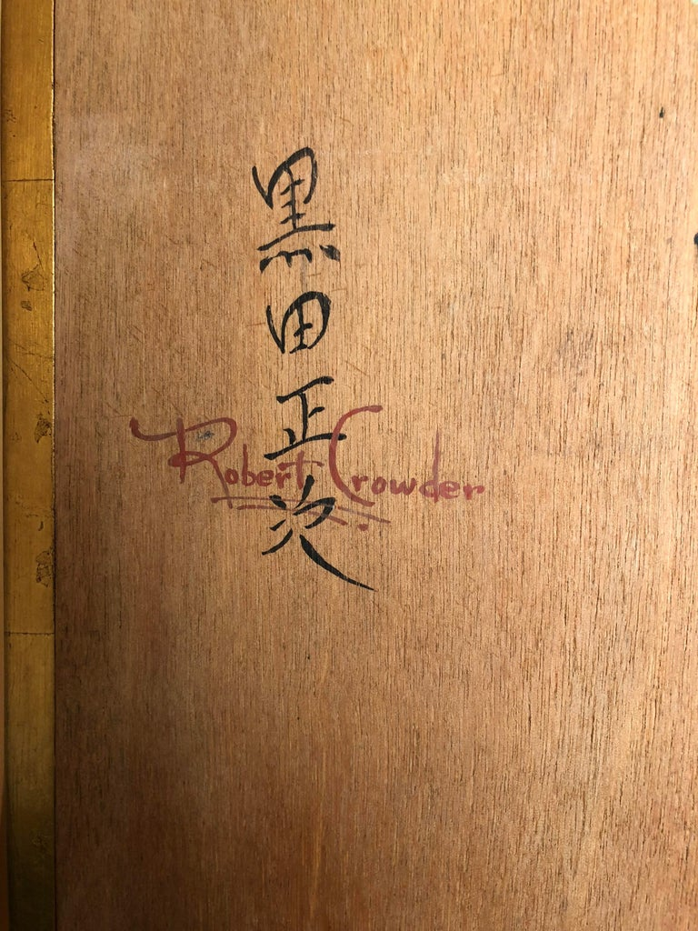 Hand-Painted Japanese Inspired Screen by Artist Robert Crowder For Sale 8