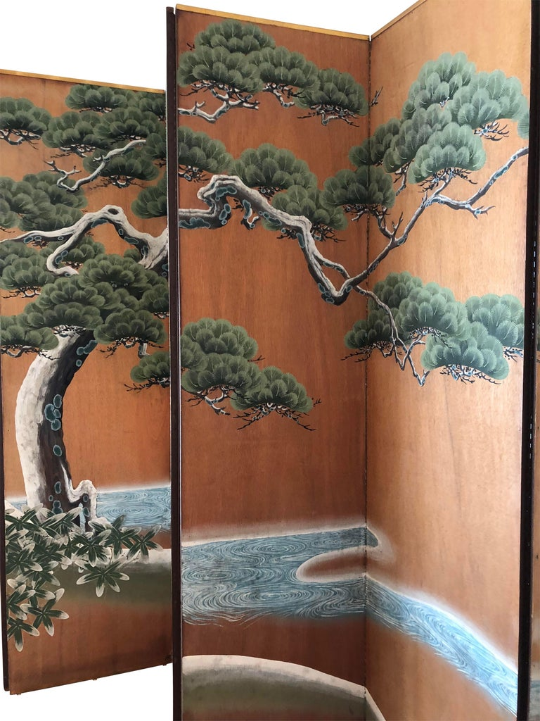 A tall, beautifully hand-painted on wood panel folding screen of Japanese style by artist Robert Crowder (b. 1911 - d.2010). Signed on the back side.  After working as a missionary in Korea, Crowder went to Japan to study Nihonga (