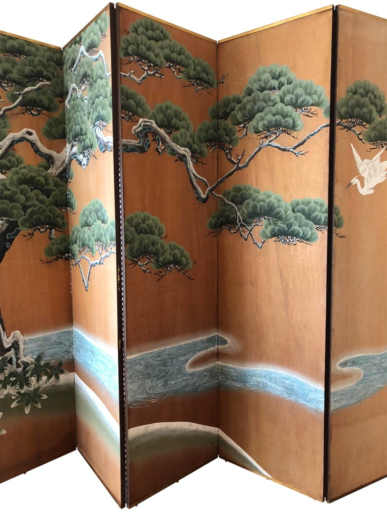 American Hand-Painted Japanese Inspired Screen by Artist Robert Crowder For Sale