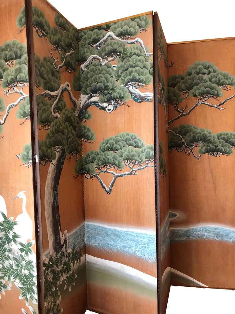 Hand-Painted Japanese Inspired Screen by Artist Robert Crowder In Excellent Condition For Sale In San Francisco, CA