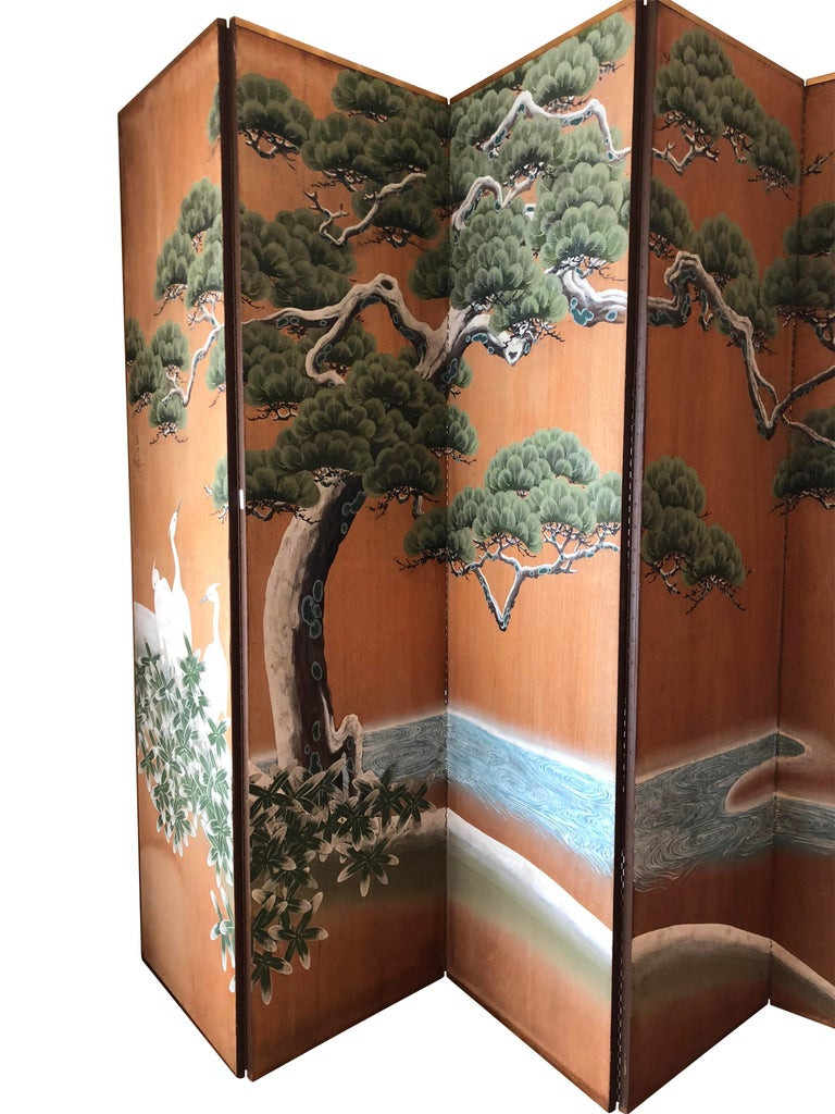 20th Century Hand-Painted Japanese Inspired Screen by Artist Robert Crowder For Sale