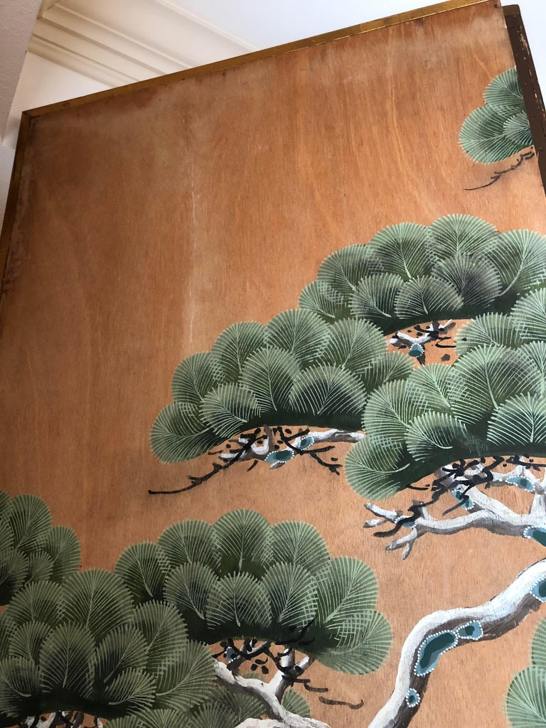 Wood Hand-Painted Japanese Inspired Screen by Artist Robert Crowder For Sale