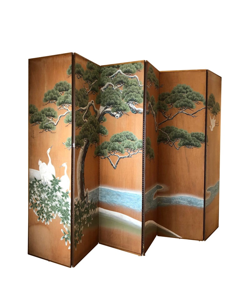 Hand-Painted Japanese Inspired Screen by Artist Robert Crowder For Sale 1