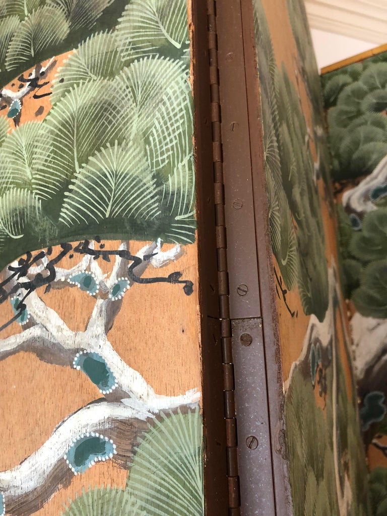 Hand-Painted Japanese Inspired Screen by Artist Robert Crowder For Sale 2