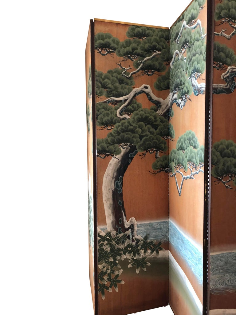 Hand-Painted Japanese Inspired Screen by Artist Robert Crowder For Sale 3