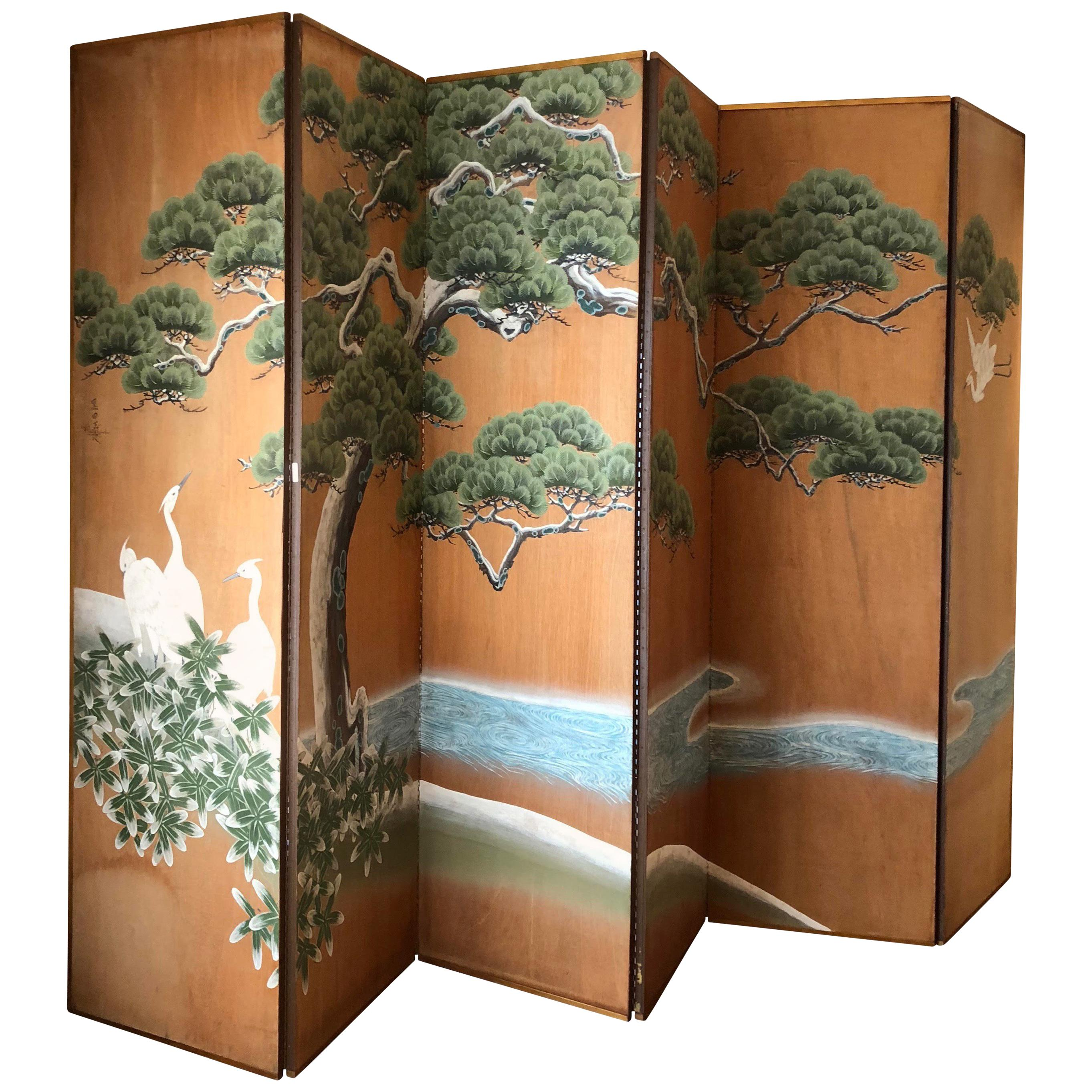 Hand-Painted Japanese Inspired Screen by Artist Robert Crowder