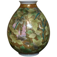 Porcelain Vase Green Gold by Contemporary Japanese Master Artist
