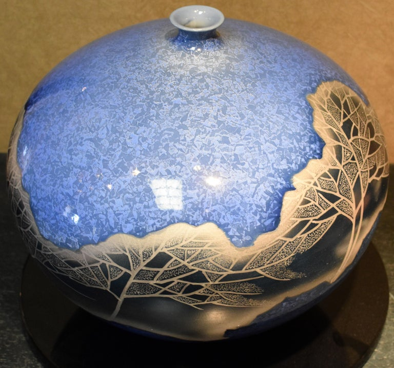 Contemporary Hand Painted Japanese Porcelain Vase in Blue and Platinum by Master Artist For Sale