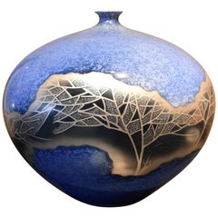 Japanese Porcelain Vase in Blue Platinum by Contemporary Master Artist