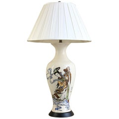Hand Painted Japanese Stoneware Table Lamp