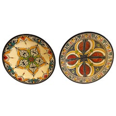 Hand Painted Large Ceramic Serving , Center Table Decorative Plate, a Set of 2