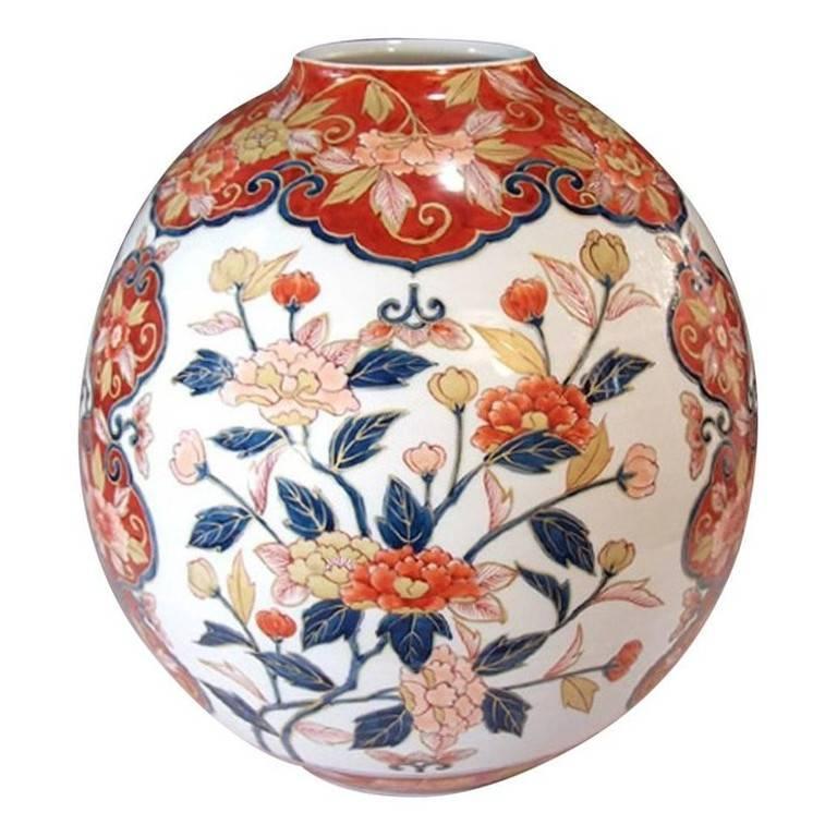 Japanese Gilded Hand Painted Imari Porcelain Vase By Master Artist