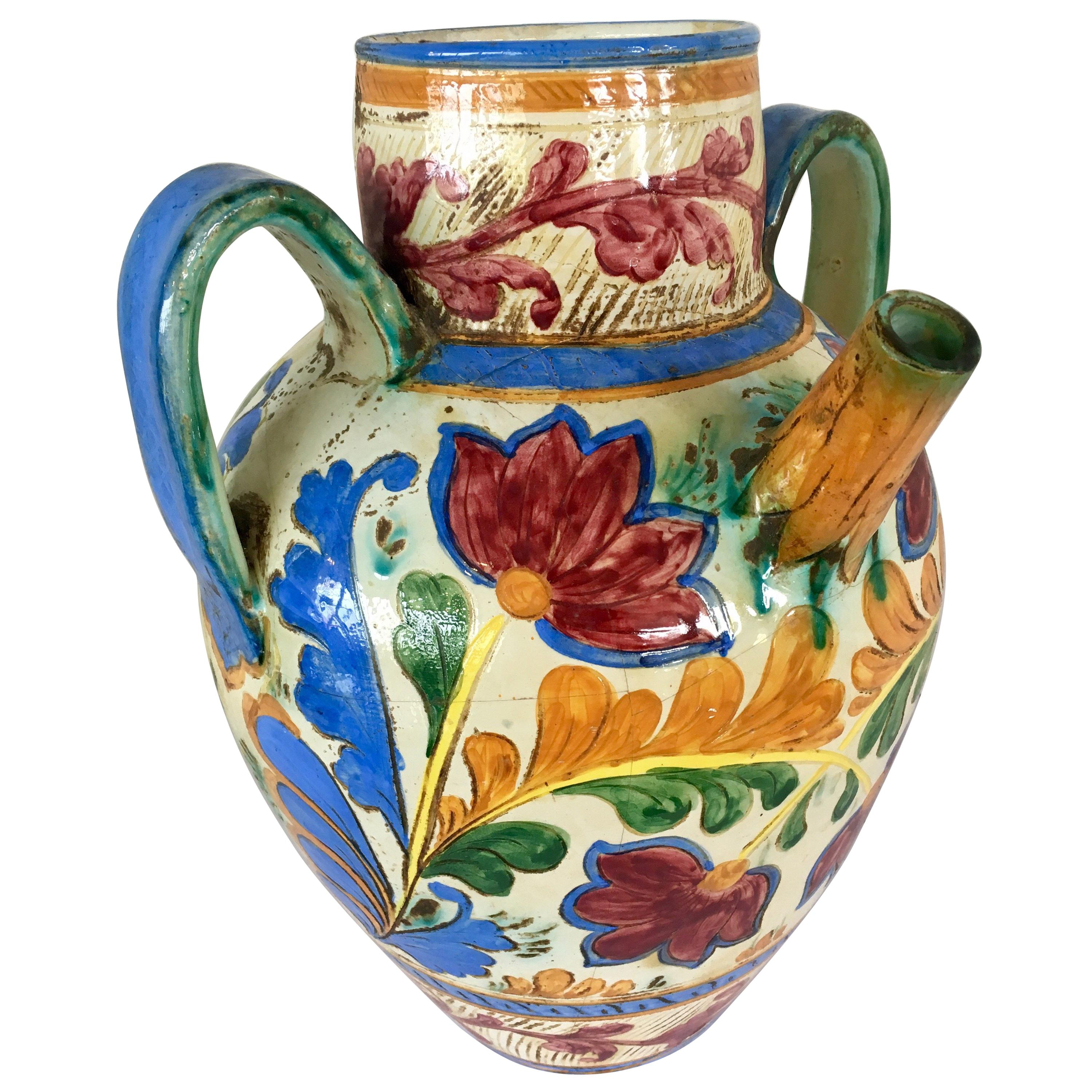 Hand Painted Large Italian Water Jug Made in Italy Signed