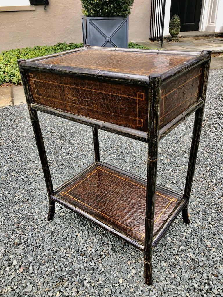 Hand Painted Leather and Faux Bamboo End Table Night Stand with Monkey Motife For Sale 7