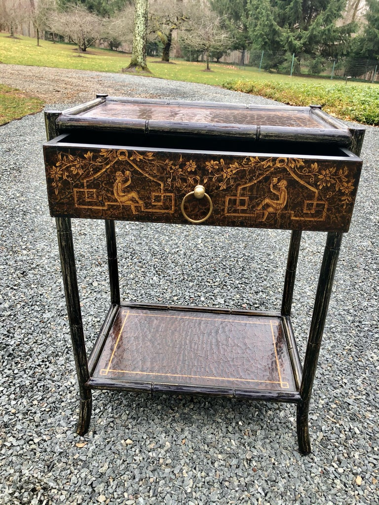 Late 20th Century Hand Painted Leather and Faux Bamboo End Table Night Stand with Monkey Motife For Sale