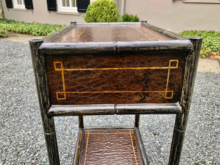 Hand Painted Leather and Faux Bamboo End Table Night Stand with Monkey Motife For Sale 1