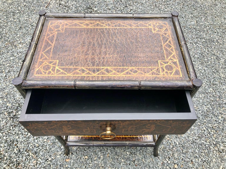 Hand Painted Leather and Faux Bamboo End Table Night Stand with Monkey Motife For Sale 2
