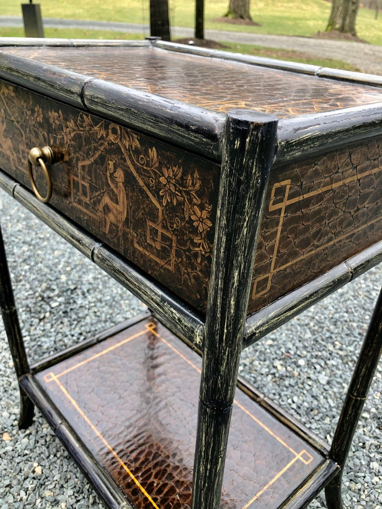 Hand Painted Leather and Faux Bamboo End Table Night Stand with Monkey Motife For Sale 3