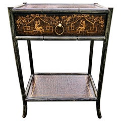 Hand Painted Leather and Faux Bamboo End Table Night Stand with Monkey Motife
