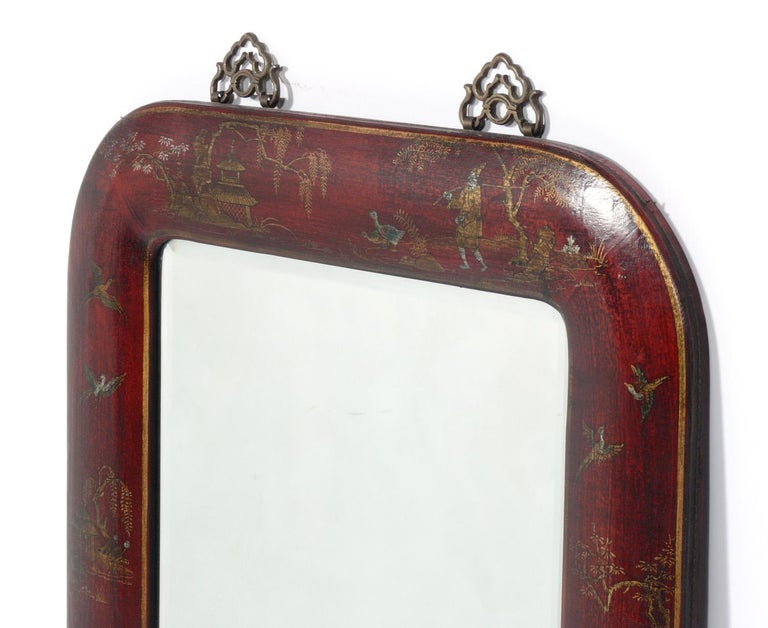Hand painted leather over wood chinoiserie mirror, probably Chinese, circa 1950s. Retains warm original patina.