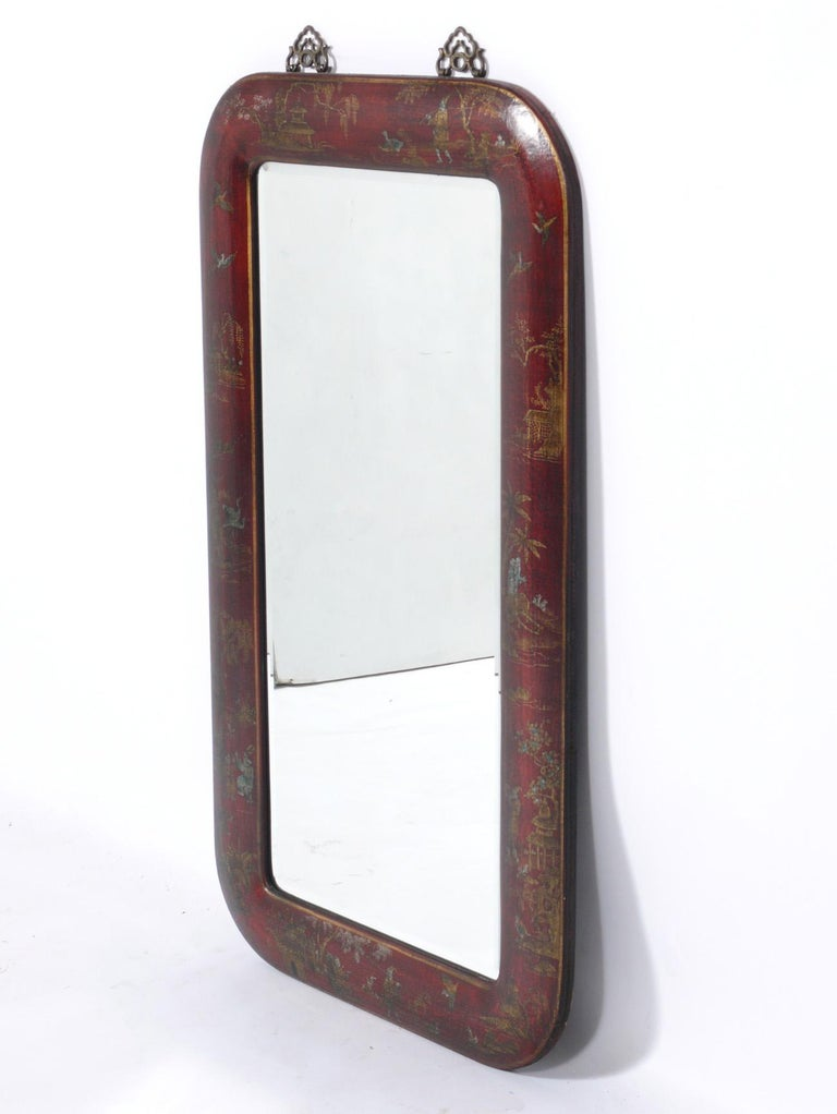 Hand Painted Leather Over Wood Chinoiserie Mirror In Good Condition For Sale In Atlanta, GA
