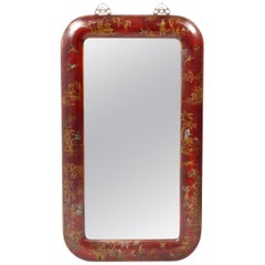 Hand Painted Leather Over Wood Chinoiserie Mirror