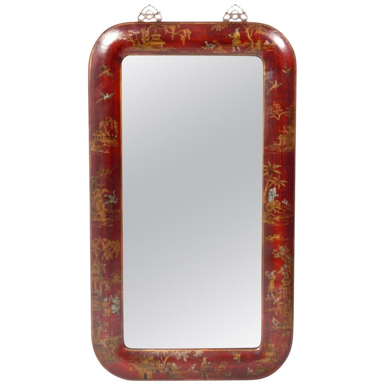Hand Painted Leather Over Wood Chinoiserie Mirror For Sale