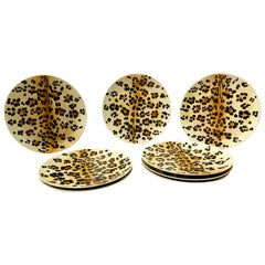 Hand Painted Leopard Plates, Set of 8