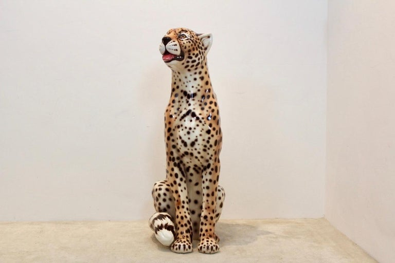 Mid-Century Modern Hand Painted Life-Size Italian Leopard Sculpture For Sale