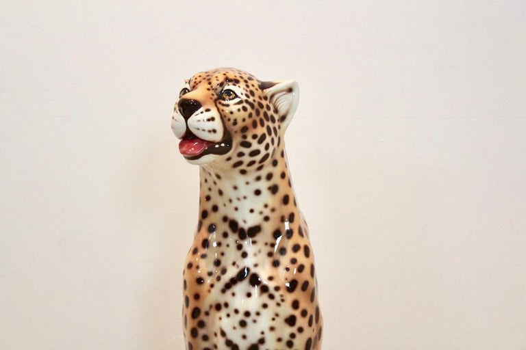 Hand Painted Life-Size Italian Leopard Sculpture In Good Condition For Sale In Voorburg, NL