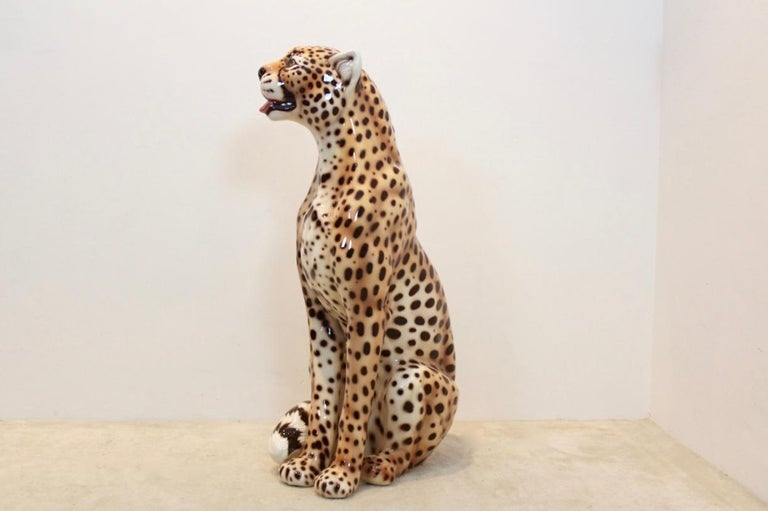 Hand Painted Life-Size Italian Leopard Sculpture For Sale 2