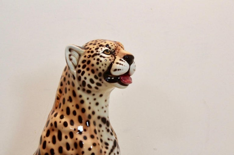 Hand Painted Life-Size Italian Leopard Sculpture For Sale 3