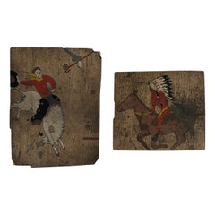Rare Mid Century Hand-Painted Linoleum Floor Tiles Cowboy Indian