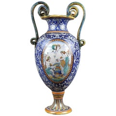 Hand Painted Majolica Vase with Serpents, 19th Century