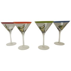 Hand Painted Martini Holiday Glasses