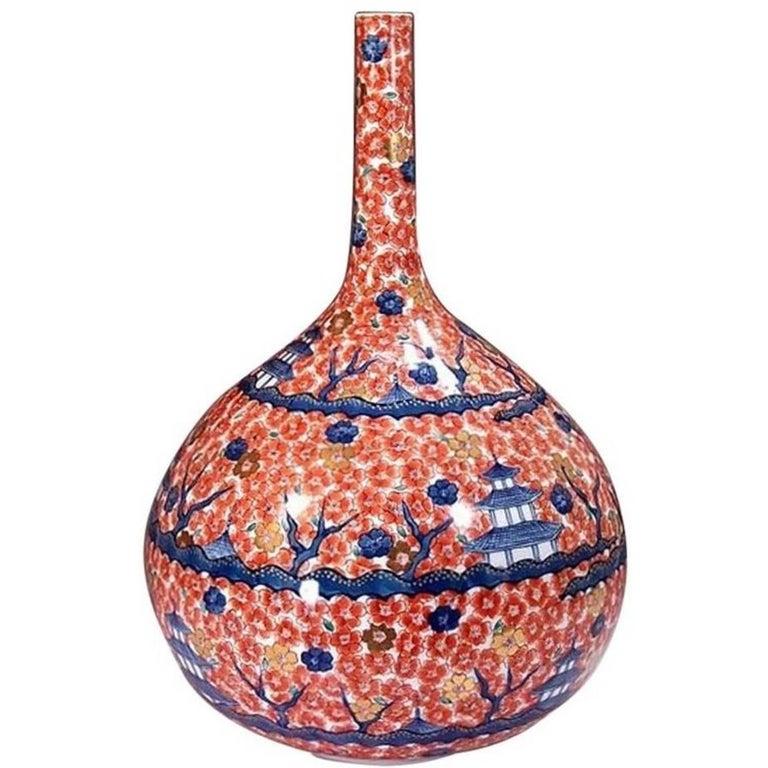 Hand-Painted Massive Imari Porcelain Vase by Japanese Master Artist