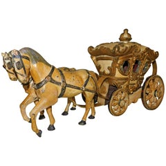 Hand-Painted Metal Store Window Advertising Horse Drawn Carriage