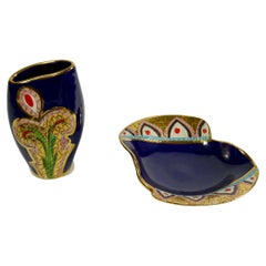 Hand Painted Midnight Blue Porcelain Vessels by Fiamma, Italy 1950s