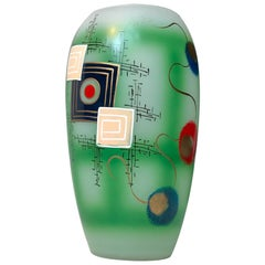 Hand Painted Modernist Glass Vase, Scandinavia, 1970s