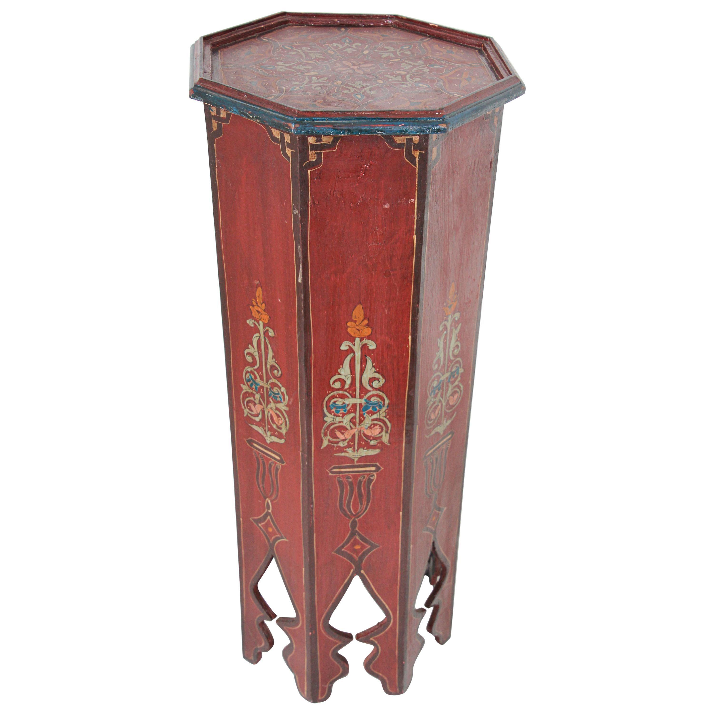 Hand Painted Moroccan Moorish Pedestal Table