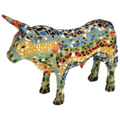 Hand Painted Mosaic Ceramic Bull Figurine