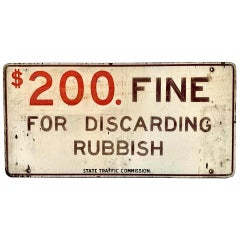 Hand Painted NO DISCARDING RUBBISH Wood Sign