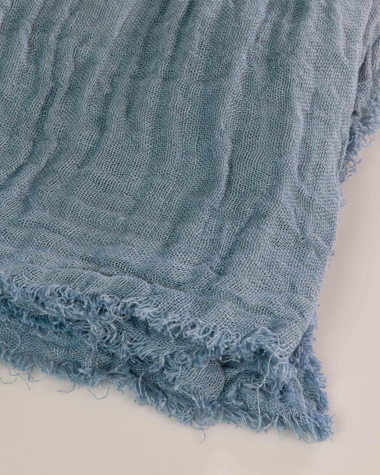 Hand Painted Open-Weave Linen Throw in Blue Tones, in Stock For Sale 4