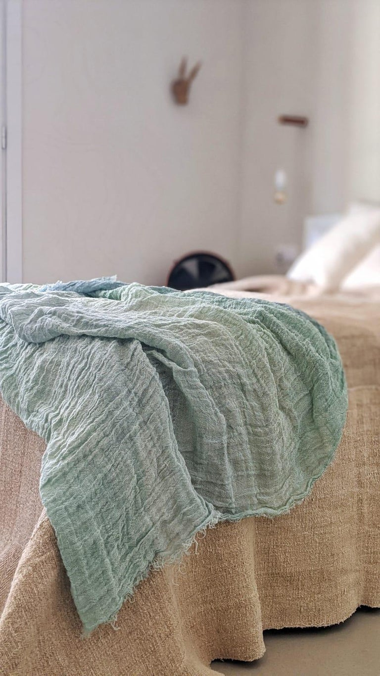 Spanish Hand Painted Open-Weave Linen Throw in Blue Tones, in Stock For Sale
