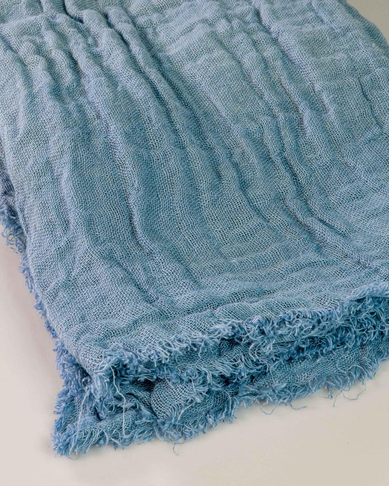 Hand Painted Open-Weave Linen Throw in Blue Tones, in Stock For Sale 3