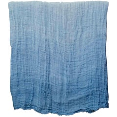 Hand Painted Open-Weave Linen Throw in Blue Tones, in Stock
