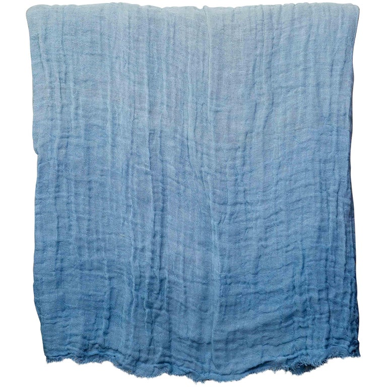 Hand Painted Open-Weave Linen Throw in Blue Tones, in Stock For Sale